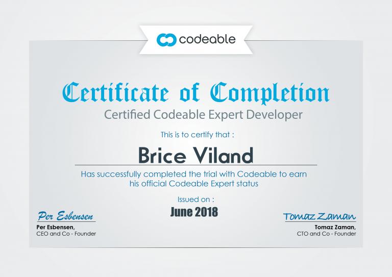 Brice Viland's Codeable Expert Certificate